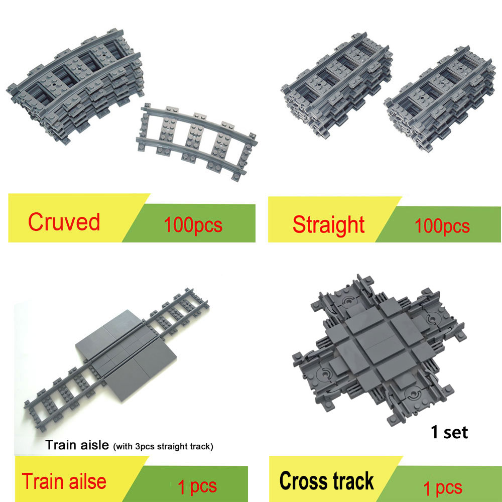 100Pcs City Trains Train Track Rail Bricks Model  Toy Soft Track& Cruved& Straight For Kids Gift Compatible All Brands Railway