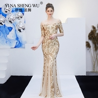 New Mermaid Dresses Long Sequin Banquet Elegant Champagne Gold Off Shoulder Wedding Party Engagement Gown For Women Vestidos