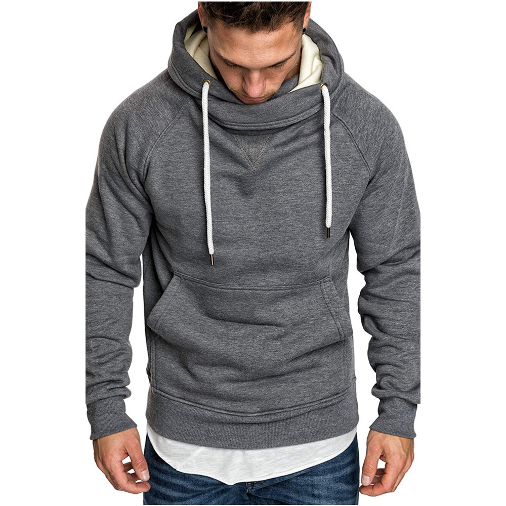 Dropshipping 2019 Fashion Design Hoodies Men Solid Casual Sporting Hoody Men Sweatshirts Turtleneck Fleece Men Hoody