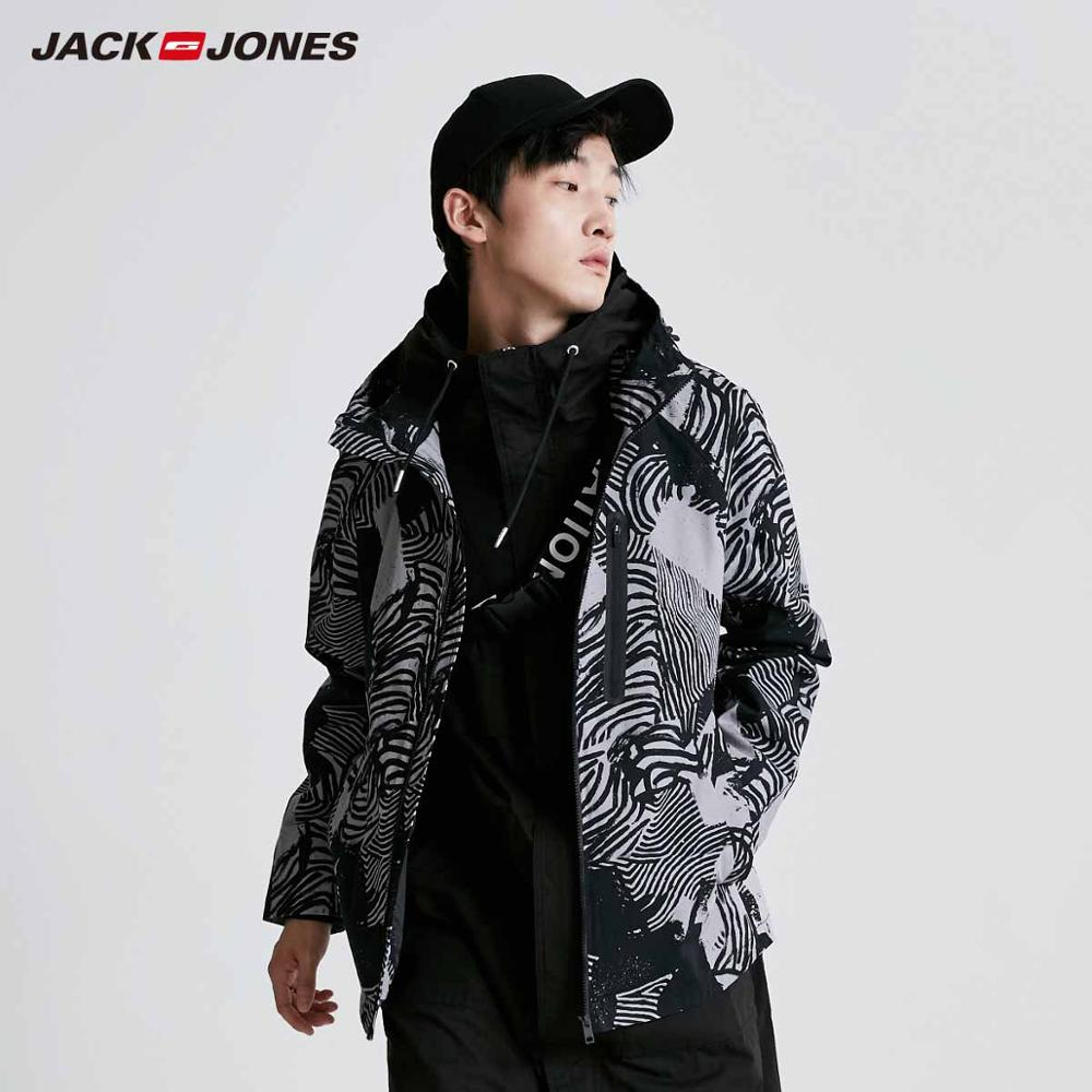JackJones Men's Printed Hooded Windproof Jacket Menswear|Streetwear 219121531