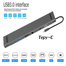 11 in 1 HUB 4K USB Type-C to 3.0 TF HDMI VGA RJ45 Mini DP Docking Station Laptop For Macbook Huawei