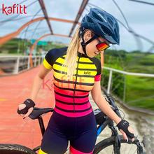 Kafeet Pro Team nowa damska koszulka triathlonowa odzież rowerowa trykoty odzież na co dzień odzież rowerowa koszulka z krótkim rękawem tanie tanio kafitt CN (pochodzenie) WOMEN 100 poliester polyester Lycra Spandex Bezpośrednia sprzedaż z fabryki 80 poliestru i 20 materiału Lycra