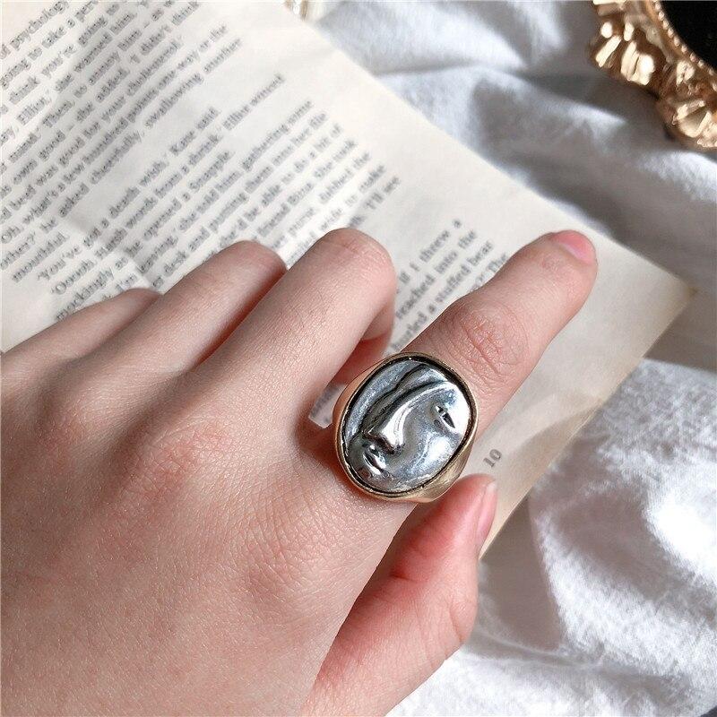 Новые винтажные большие круглые кольца для портретов, с геометрическим орнаментом, кольца на палец для женщин и девушек, вечерние ювелирные изделия, подарки|Кольца|   | АлиЭкспресс