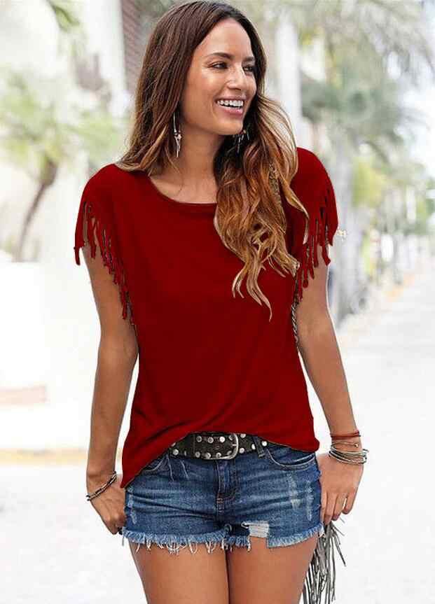 2020 패션 여성 라운드 넥 옷 T 셔츠 커트 프린지 탑 컬러 블럭 여름 반소매 T 셔츠 하라주쿠 대형 사이즈