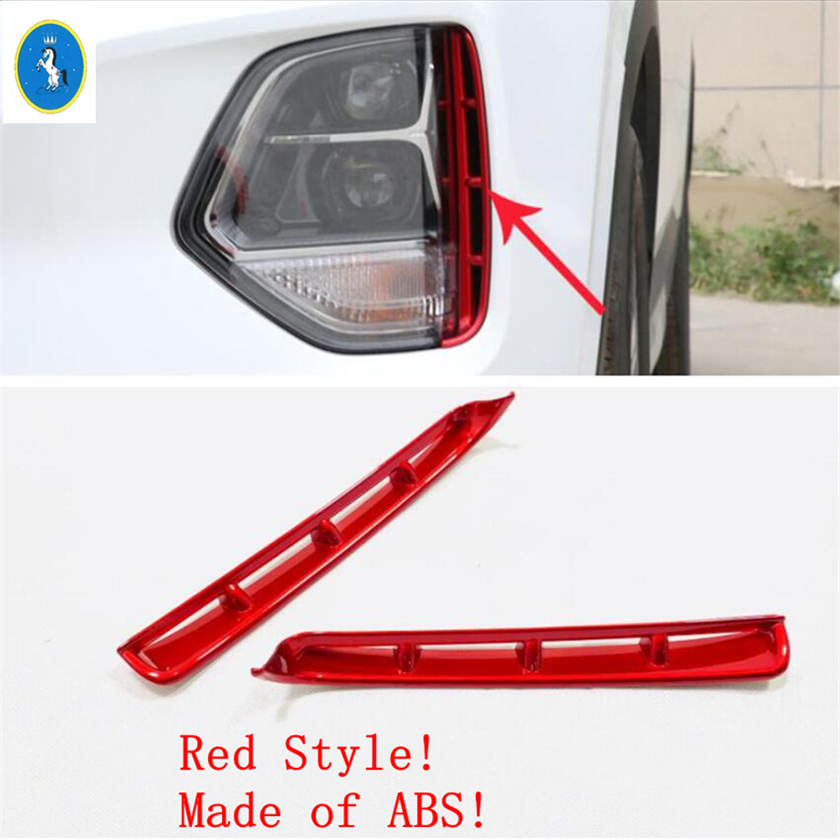 Yimaautotrims Auto Accessory Front Face Fog Lights Lamp Eyelid Eyebrow Decoration Cover Trim Fit For <font><b>Hyundai</b></font> <font><b>Santa</b></font> <font><b>Fe</b></font> <font><b>2019</b></font> 2020 image