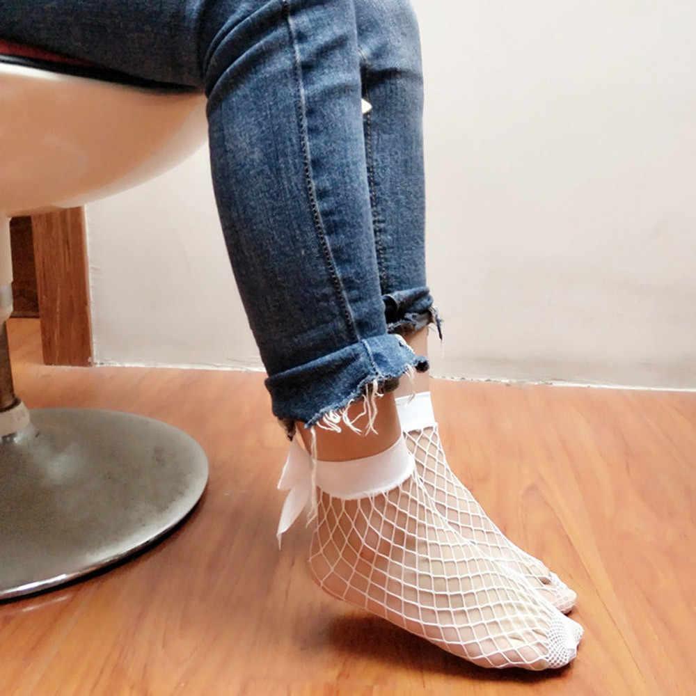 Calcetines altos hasta el tobillo de red con volantes para mujer, calcetines cortos de red de encaje, nuevos calcetines cortos de moda 2019 para mujer calcetines