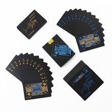 55 pçs nova impermeável pvc puro preto magia caixa-embalado cartões de jogo de plástico conjunto baralho poker clássico truques de magia ferramenta