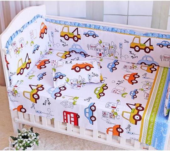6PCS Car 100% Cotton Cot Nursery Baby Cot Set Crib Bedding Soft Comfortable Newborn Crib Bedding (4bumpers+sheet+pillow Cover)