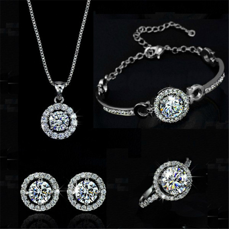 Simple Female White Crystal Jewelry Set Charm Gold Silver Color Stud Earring For Women Cute Ring Bracelet Wedding Chain Necklace