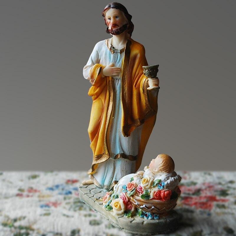 Dieu chrétien jésus Sculpture croix voiture intérieur bijoux Bible icône décoration église cadeau mariage cadeau résine artisanat