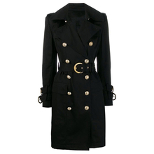 HIGH STREET 2020 Herbst Winter Designer Graben frauen Zweireiher Lion Tasten Belted Trench Mantel