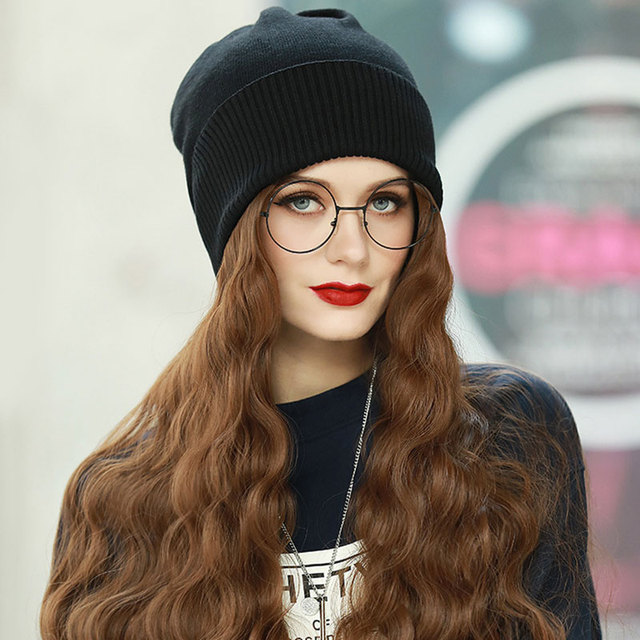 Fashion Wig Knitted Hat 1