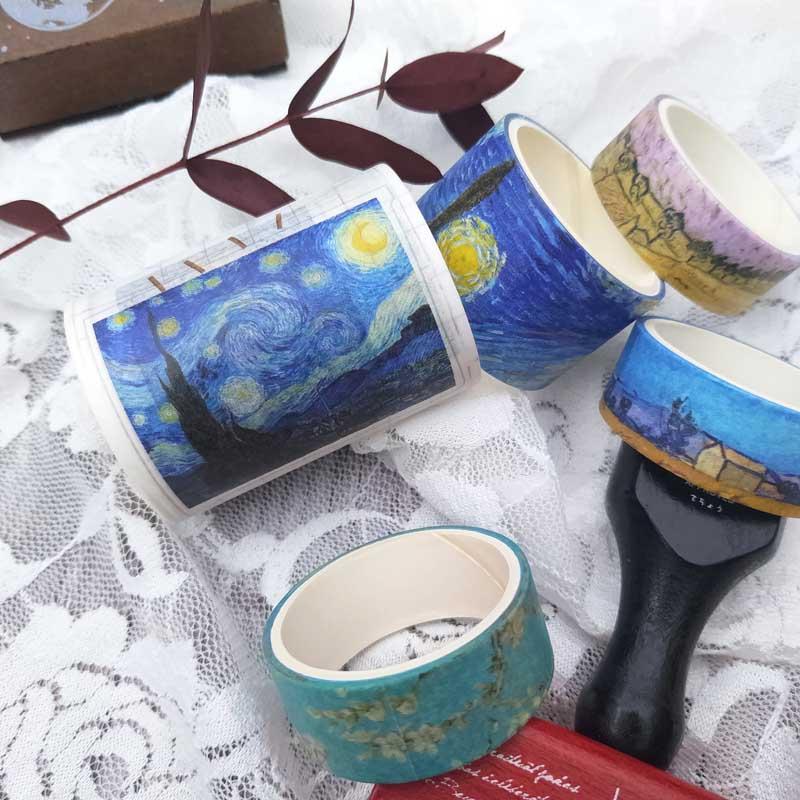 7Pcs/Box Retro Van Gogh Bullet Journal Washi Tape Landscape Oil Paint Wheat Field Masking Tape Flower English DIY Scrapbooking