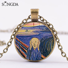 SONGDA Edvard Munch Scream Abstract Oil Painting Necklace Glass Art Picture Handicrafts Pendant Necklace Painter Artist Souvenir(China)