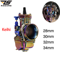 ZS Racing Universal 28mm 30mm 32mm 34mm Keihin PWK Motorcycle Carburetor For 4T Engine Plating Color Carburador With Power Jet