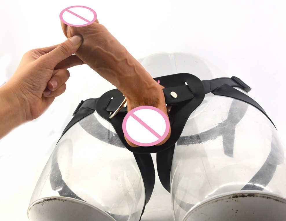 Unisex Strapon Besar Realistis Dildo Soft Silicone Double Lapisan Kulit Penis Touch Mainan Seks untuk Wanita Masturbasi Kulit Harness