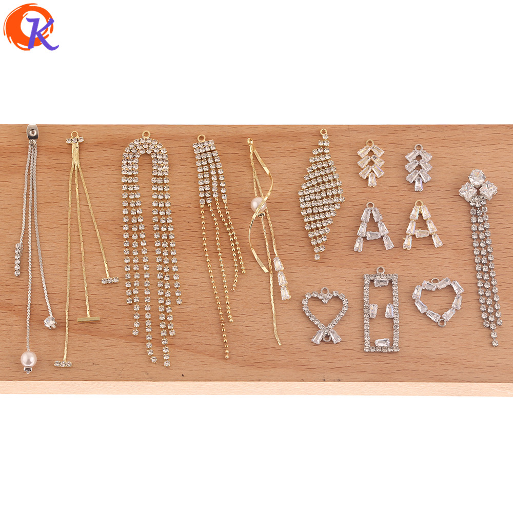 Cordial Design 50Pcs DIY Jewelry Accessories/Rhinestone Claw Chain/Jewelry Findings Component/Hand Made/CZ Earrings Connectors