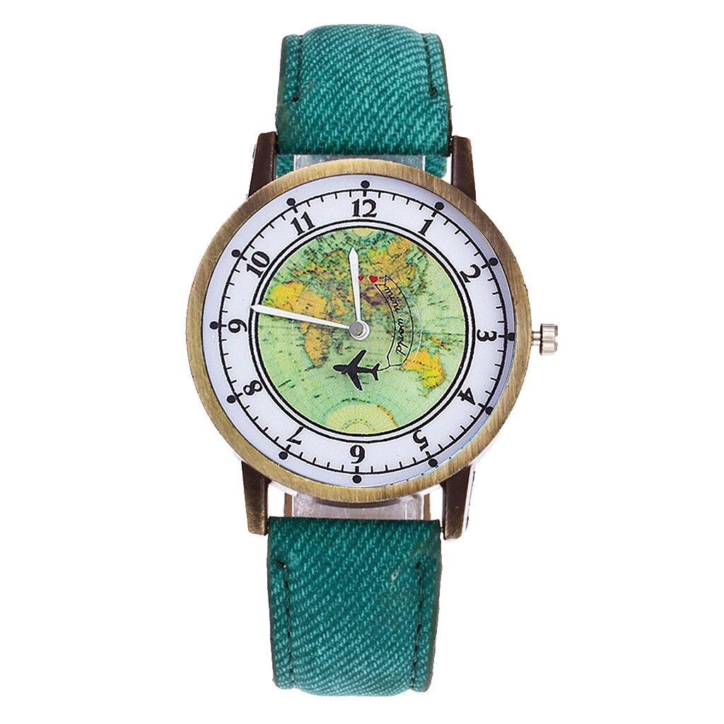 Hot Fashion Women Global Travel By Plane Map Denim Fabric Band Watch Casual Ladies Wrist Watches Quartz Clock Relogio Feminino