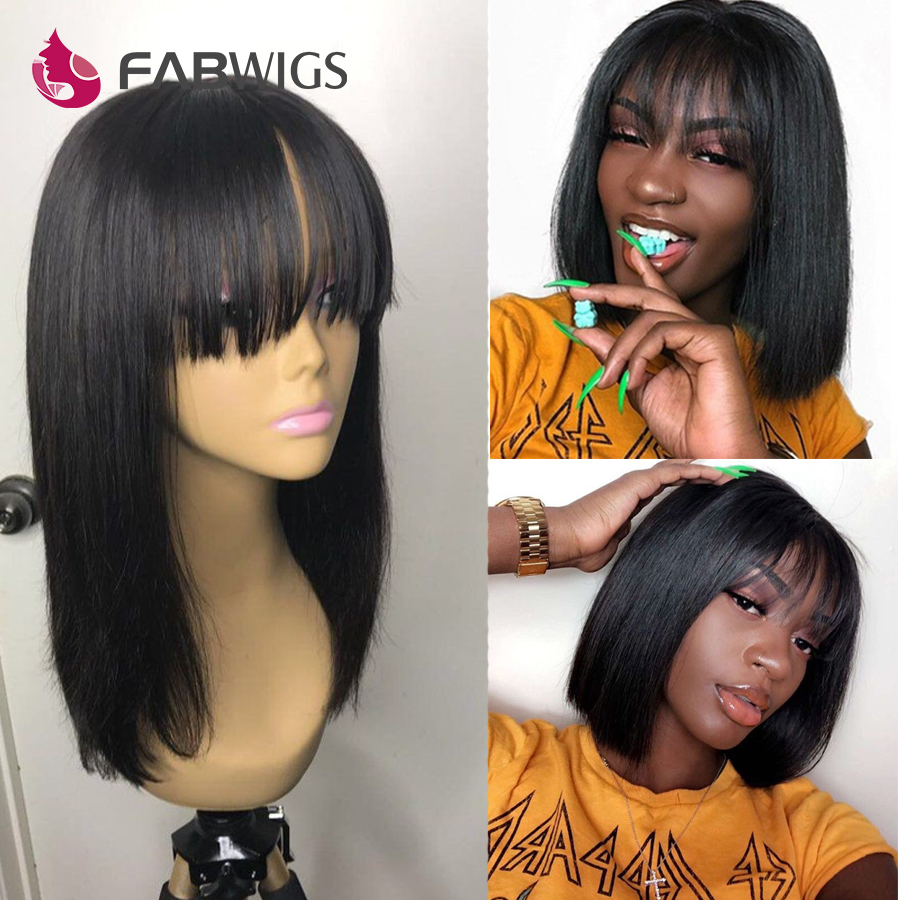 Fabwigs Bob Wig Transparent 13x6 Lace Front Human Hair Wigs With Bangs Brazilian Straight Lace Front Wig Human Hair Short Wig