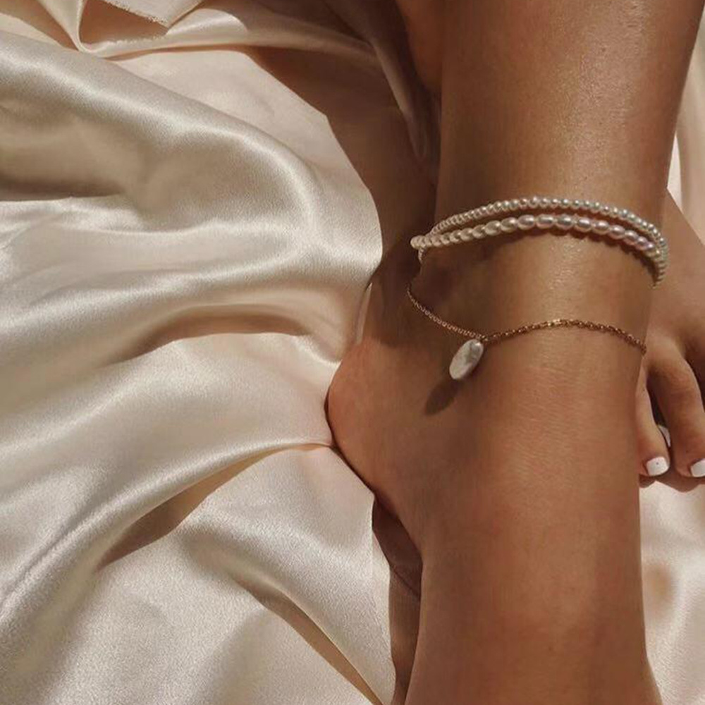 2020 Chic Elegant Women Chain Handmade Simulated Pearl Bead Anklet Bohemian Summer Foot Bracelet Fashion Jewelry