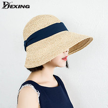 سيدة واسعة كبيرة قناع قبعة الشمس للنساء الطبيعية سفاري سترو قبعة شاطئ الظل الرافية قبعة
