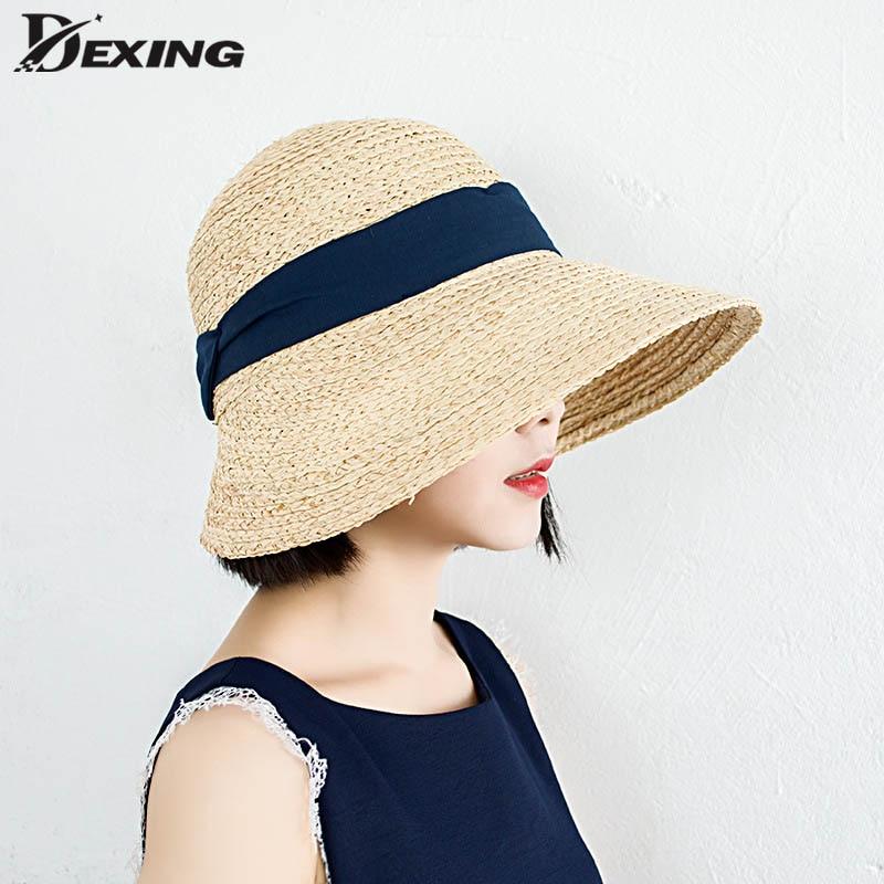 Lady Wide Big Visor Sun Hat For Women Natural Safari Straw Hat  Beach Shade Raffia Hat