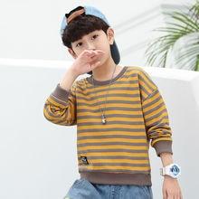 Boys Spring Long Sleeve Stripe Sweater Children's Cotton/Polyester/Elastane Label Decoration Pullover Kids O-Neck Tops