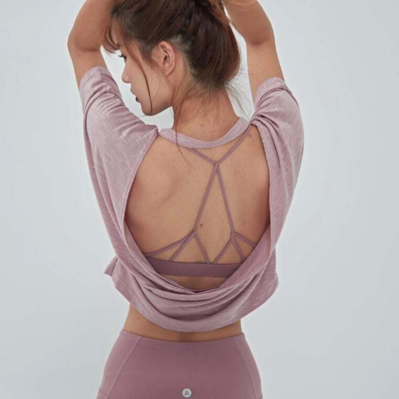 Camiseta sem Costas Rosa para Yoga Solta com Costas Suave para Academia Aberta Camisa Esportiva Abertas