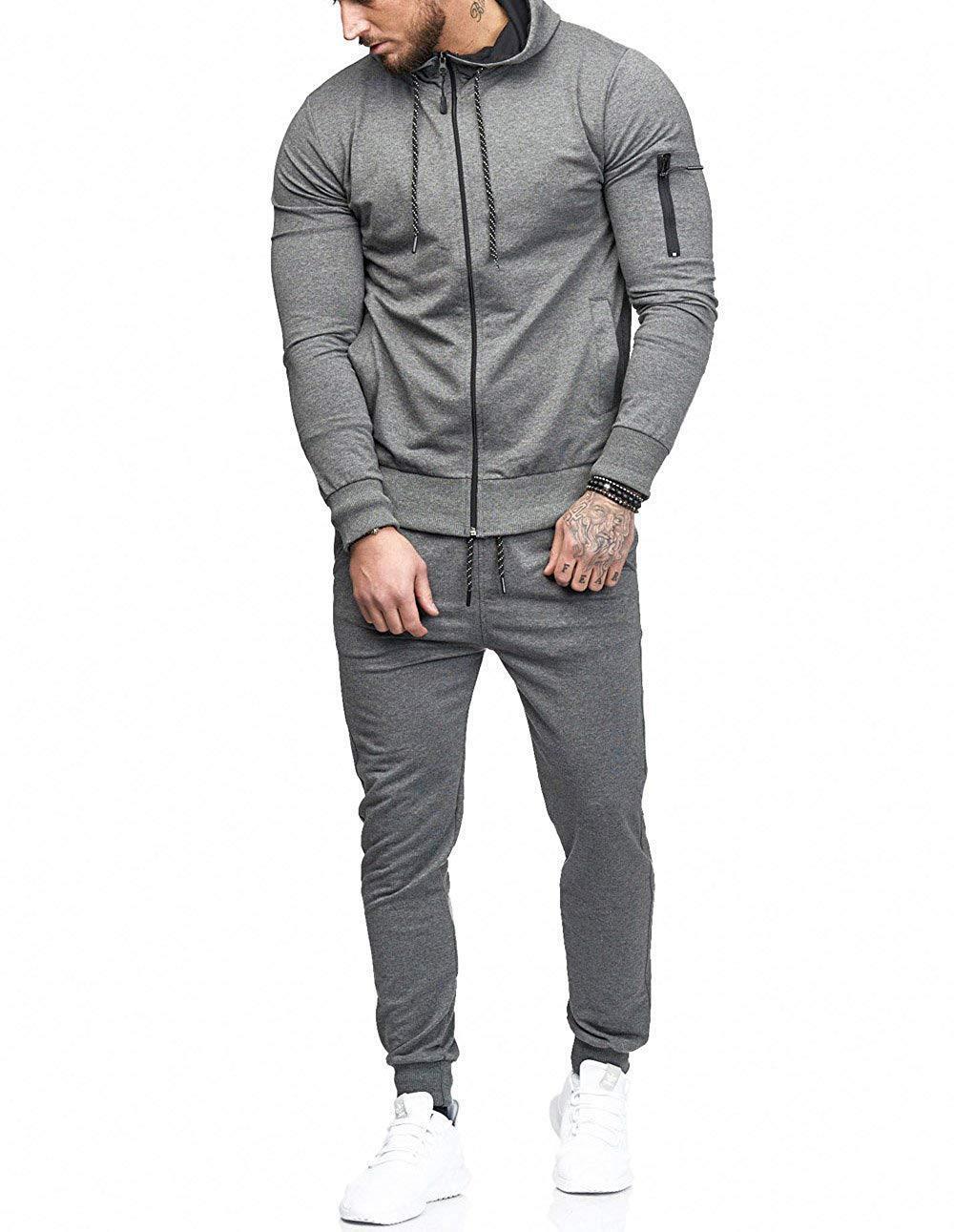 Mens Tracksuit 2020 New Autumn Winter Fashion Trend Solid Men Sports Suit Arm Zipper Decoration Hooded Casual Slim Men Suit