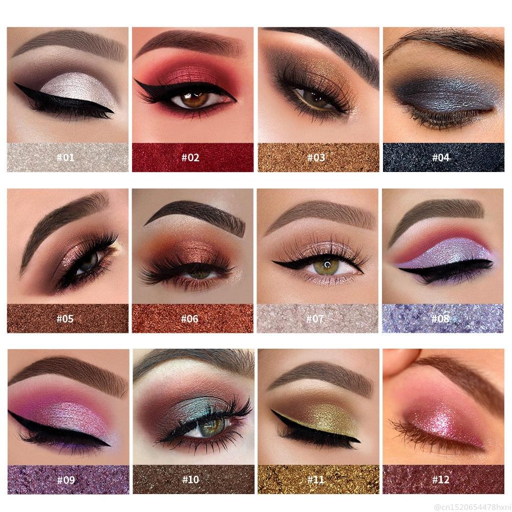 HANDAIYAN Metallic Glitter Eye Shadow Pallete Long-Lasting Waterproof Soft Shimmer Eye Makeup Cosmetic Maquillajes TSLM2 2