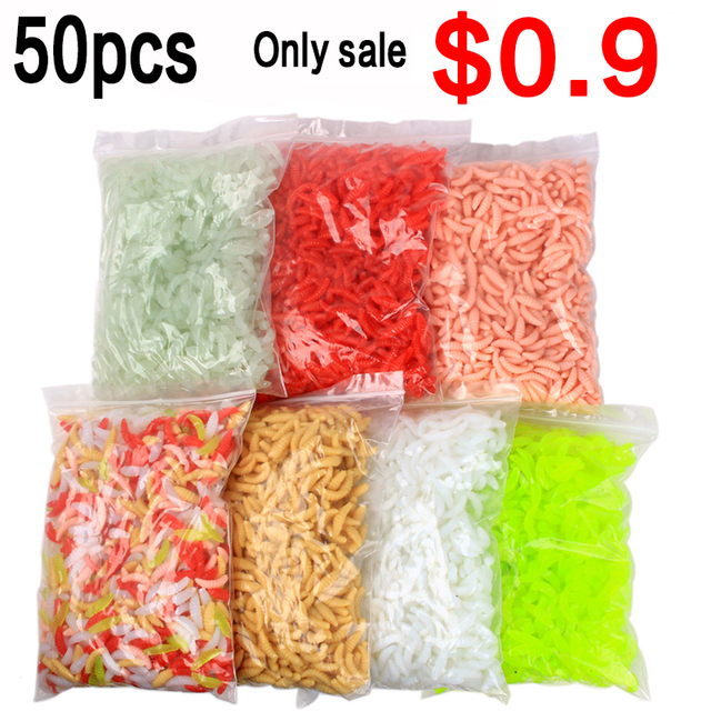 fishing lure Promotion 50PCS 2cm 0.3g Maggot Grub Soft Fishing Lure Hooks Smell Worms Glow Shrimps Fish Lures hot sale Fishing Lures    -