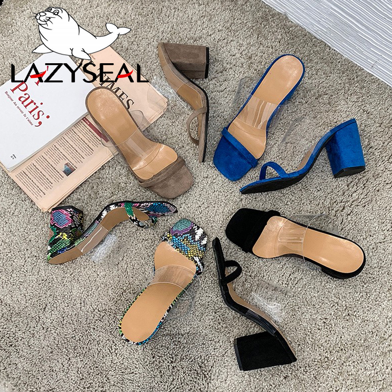 LazySeal 8cm High Square Heels Summer Slides Women Slippers For Ladies Shoes Woman Snake Pattern Women Shoes For Women