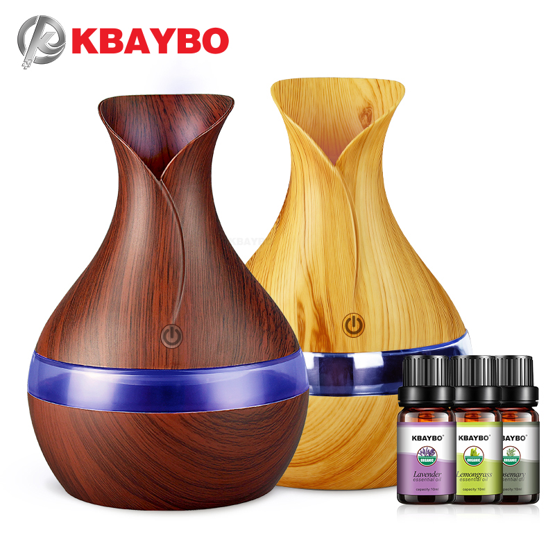 KBAYBO USB Air Humidifier With Essential Lavender Lemongrass Rosemary Oils 300ml  Aroma Strong Mist Maker Essential Oil Diffuser