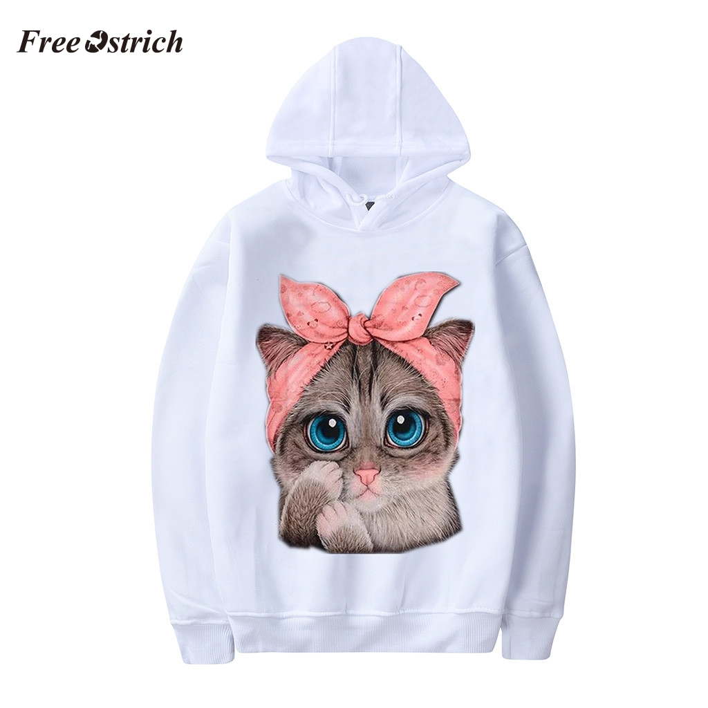 Free Ostrich Women Hoodies Sweatshirt Cat Print Long Sleeve Pullovers Loose Hooded Sweatshirt oversized hoodie harajuku Tops 813