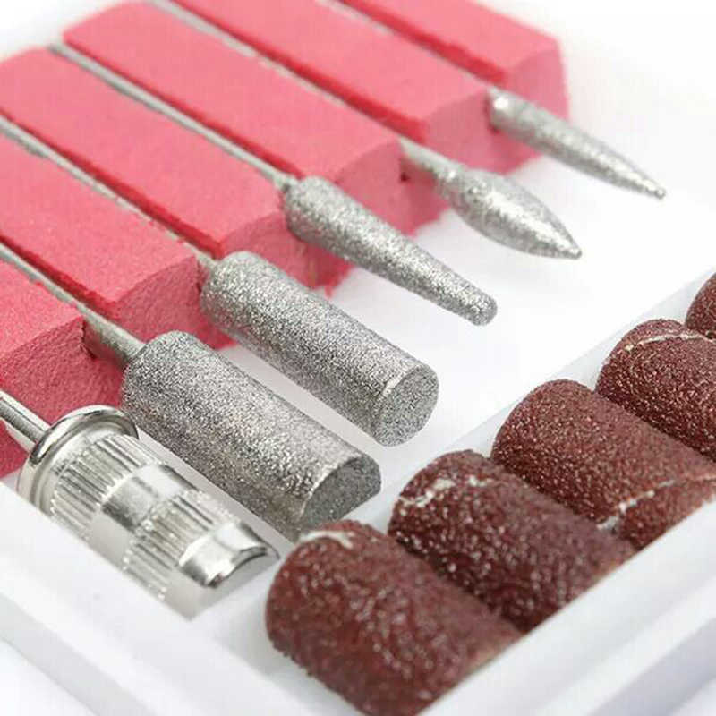6 stks/set Nail Art Supplies Nagels Boor Elektrische Bestand Staande Polish Machine Tools Set Kit Slijpen Hoofd Zand Vervanging