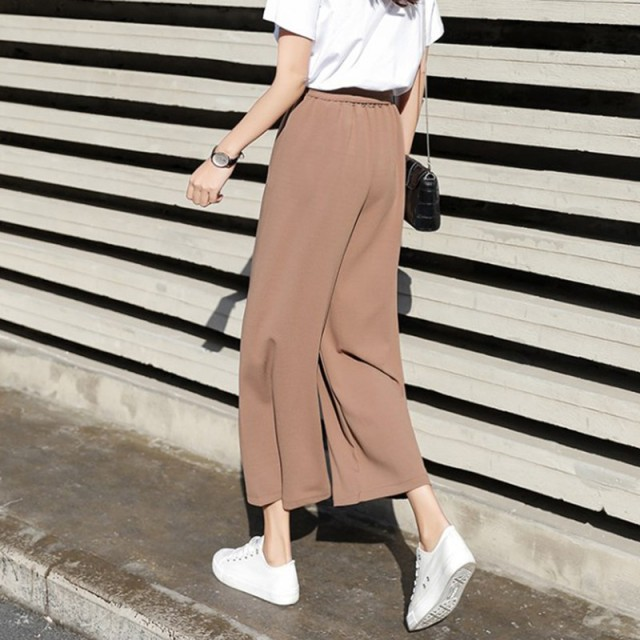 Pants Women Casual Office Lady Loose Chiffon Wide Leg Pants Elastic High Waist Trousers Women Solid Pants pantalones mujer.w