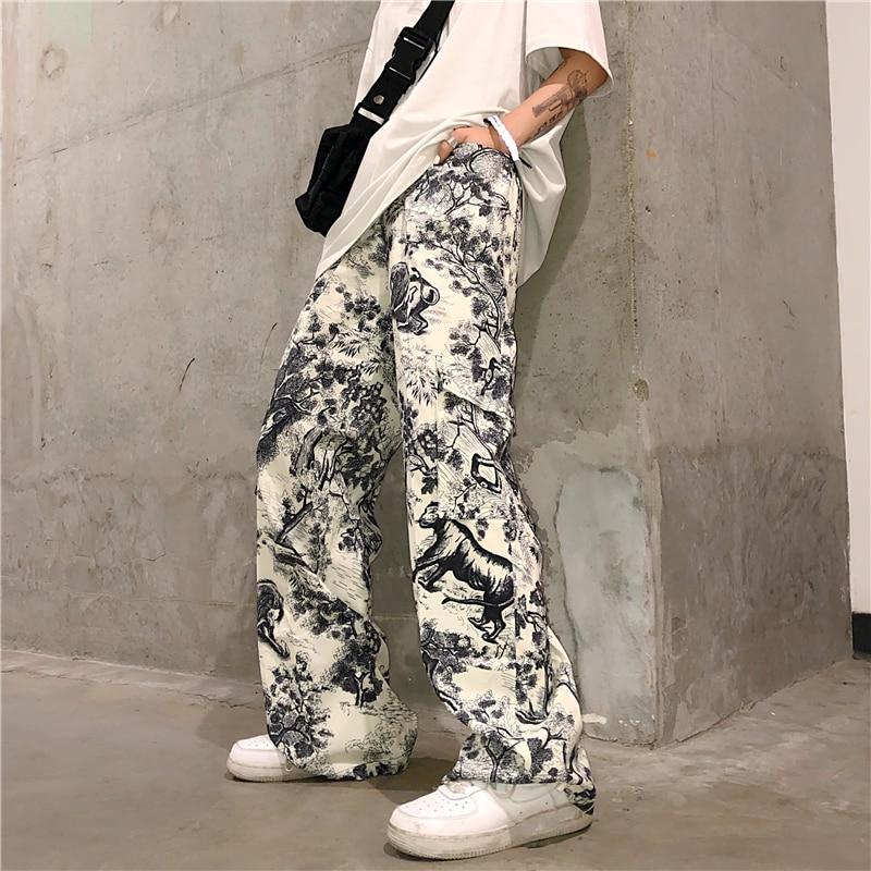 Graffiti Vintage Print Cargo Pocket Loose String Waist Jogger Pant Harajuku Streetwear Korean Punk Trouser Summer Hip Hop Track