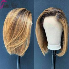 Ombre Color Bob Lace Front Human Hair Wigs Highlight Brazilian Remy Hair 4*4 Lace Wigs 150% Density Pre-plucked