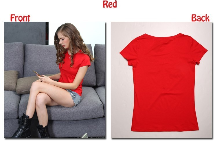 High Quality Plain T Shirt Women Cotton Elastic Basic T-shirts 18