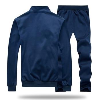 Men Tracksuit Set Polyester Sweatshirt 2020 Spring Sporting Fleece  Jacket + Pants Casual Men's Sports Suit Men's Sportswear 4XL 3