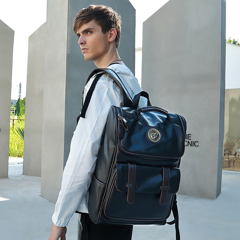JIULIN sac à dos en cuir hommes ordinateur portable voyage sac à dos 15 pouces étanche sac à dos pour ordinateur portable USB collège Bookbag hommes mochila hombre - 6