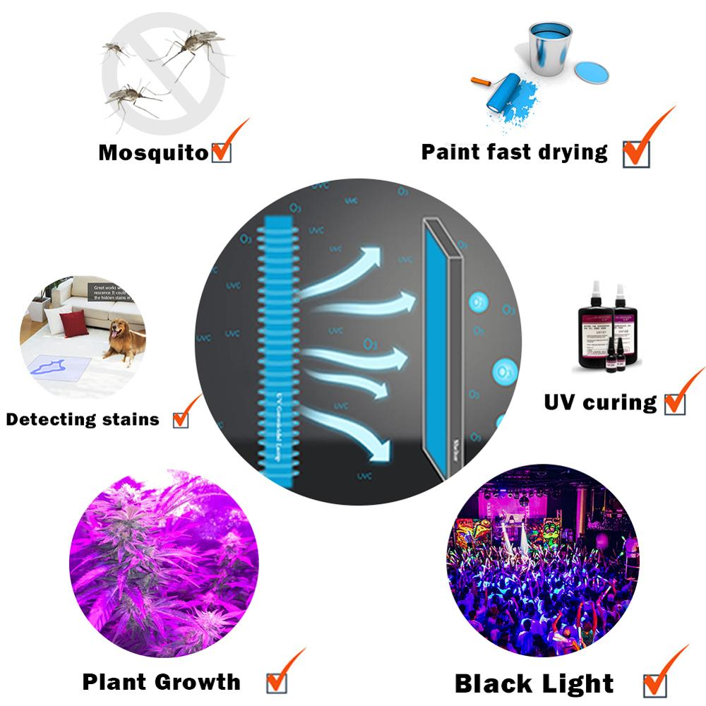 Image 5 - Protect Eyes 110V 220V LED UV Black Light Party Dark Aquarium Body Paint Fluorescent Poster Neon Glow Halloween Ultraviolet Lamp-in Ultraviolet Lamps from Lights & Lighting