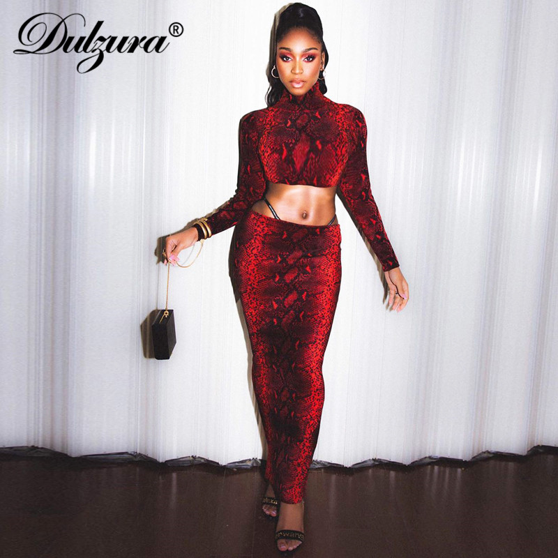Dulzura Women 2 Piece Set Snake Print Crop Top Midi Skirt Bodycon Sexy Co Ord Festival Clothing Party Outfit 2019 Autumn Winter