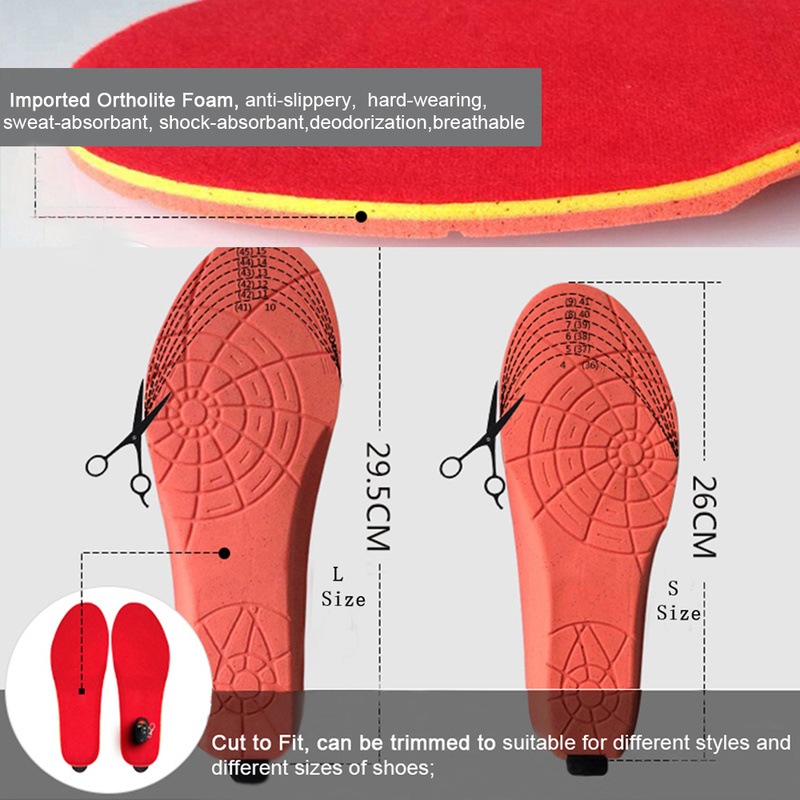 Promotion Winter Warm Electric Heating Insoles with 1800mAh Battery Heated Shoe Insoles Pads for Skiing Camping Cushion Insert in Insoles from Sports Entertainment