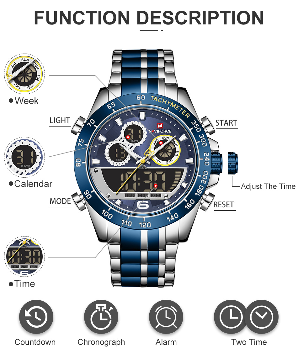 NAVIFORCE 9188 Steel Watch 7