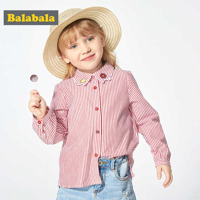 Balabala القطن مخطط كم طويل بلايز بنات الأطفال طفل أطفال قمصان قمصان الربيع