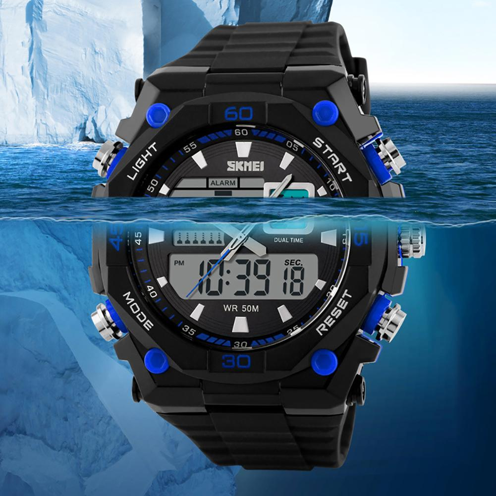 Military Men LED Pointer Double Display 50M Waterproof Luminous Wrist Watch Mas-culino Fashion Men's Watch Large Dial Militarys