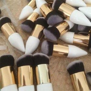 Image 5 - Saiantth Enkele Chubby Houten White Gold Make Up Kwasten Beauty Tool Foundation Brush Kegel Handvat Dichte Schuine Pincel Maquiagem