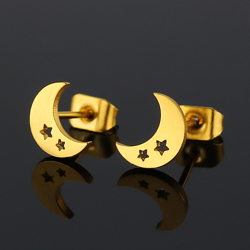 1Pc The New Stainless Steel Hollow Out The Stars The Moon Stud Earrings Contracted Natural Allergy Free Accessories
