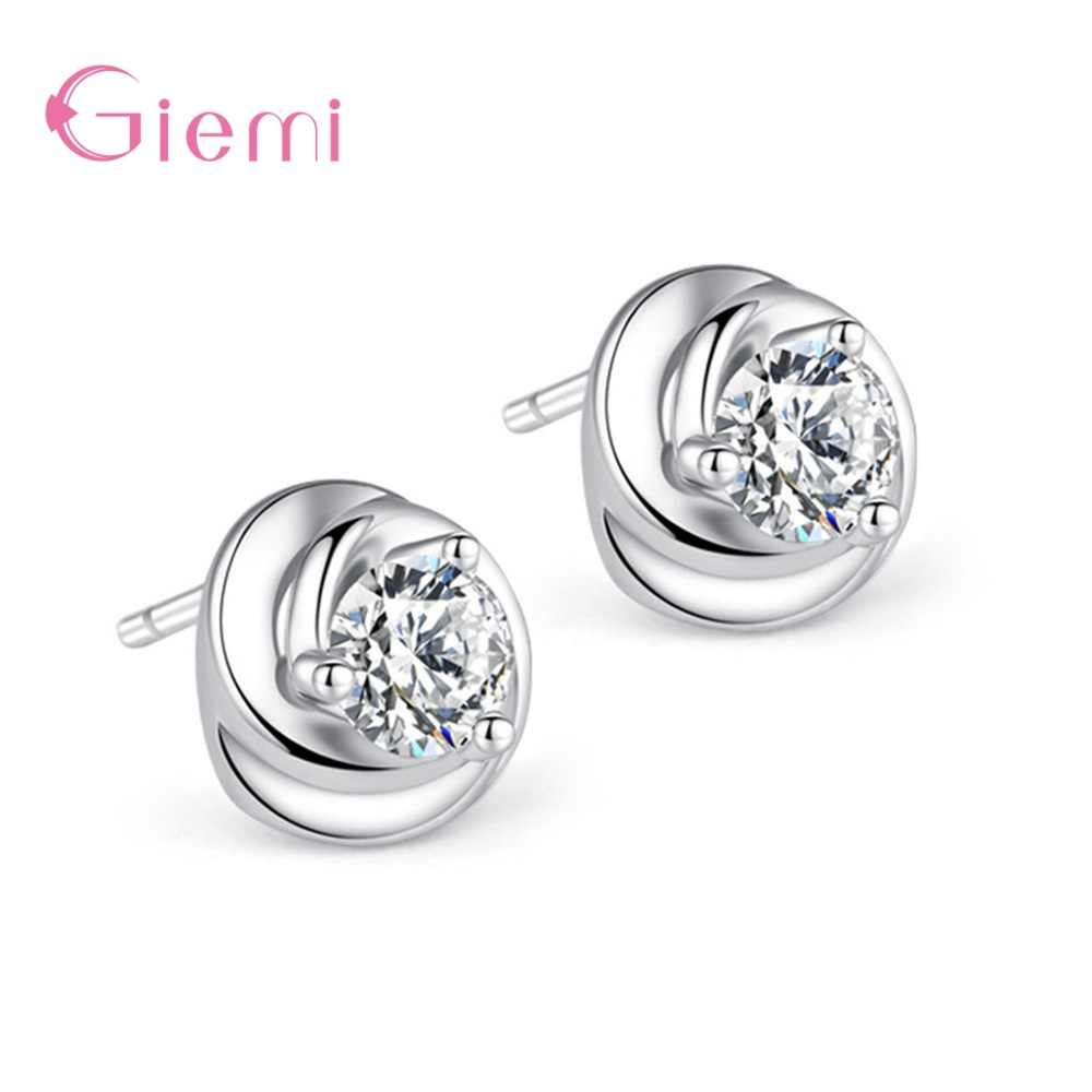 New Arrival 925 Sterling Silver Simple Fashion Rotaing Flower White Purple Crystal Stud Earrings Women Girls Wedding Jewelry